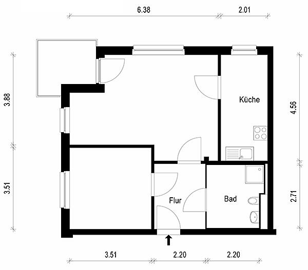 Grundriss wohnung 2 zimmer  WBG Köpenick Nord - unsere Wohnungen